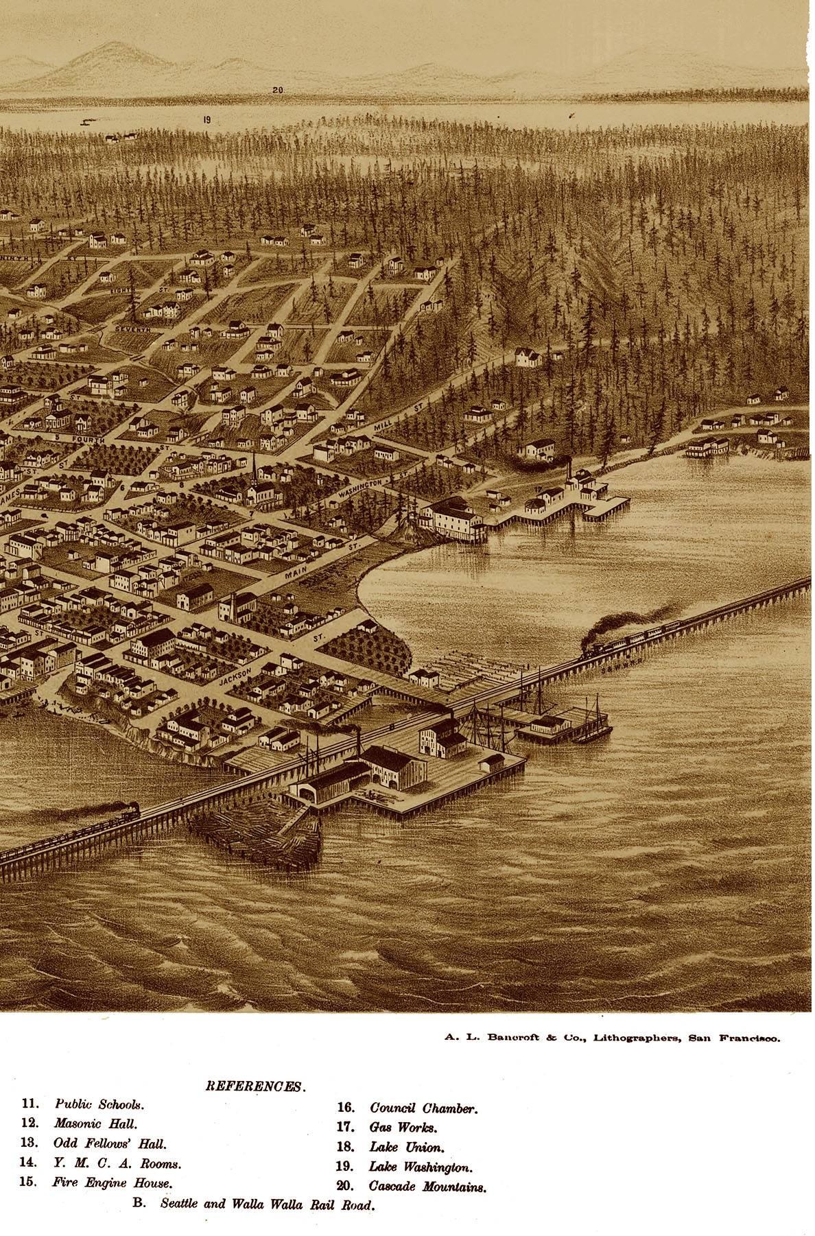 Seattle, Washington In 1878 – Bird's Eye View, Aerial Map Regarding Most Popular Seattle Map Wall Art (View 16 of 20)
