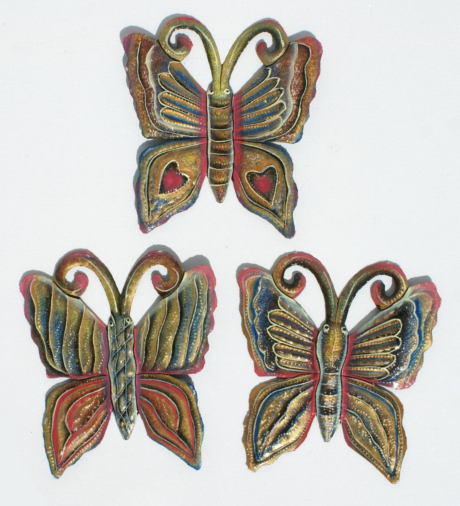 Set 3 Butterflies Colored Handmade Metal Haitian Art For Sale Wall With Latest Caribbean Metal Wall Art (View 14 of 20)