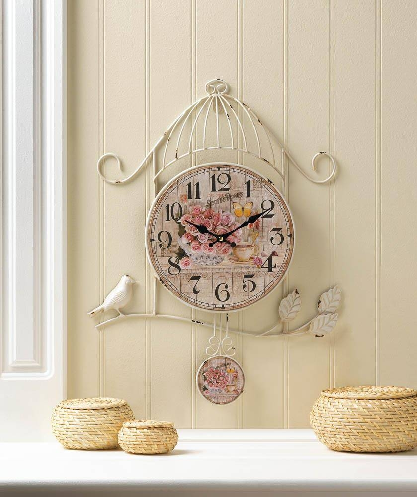 Shabby Vintage Chic Wall Decor Country Rose Bird Cage Plaque Metal In Recent Vintage Metal Wall Art (View 10 of 20)