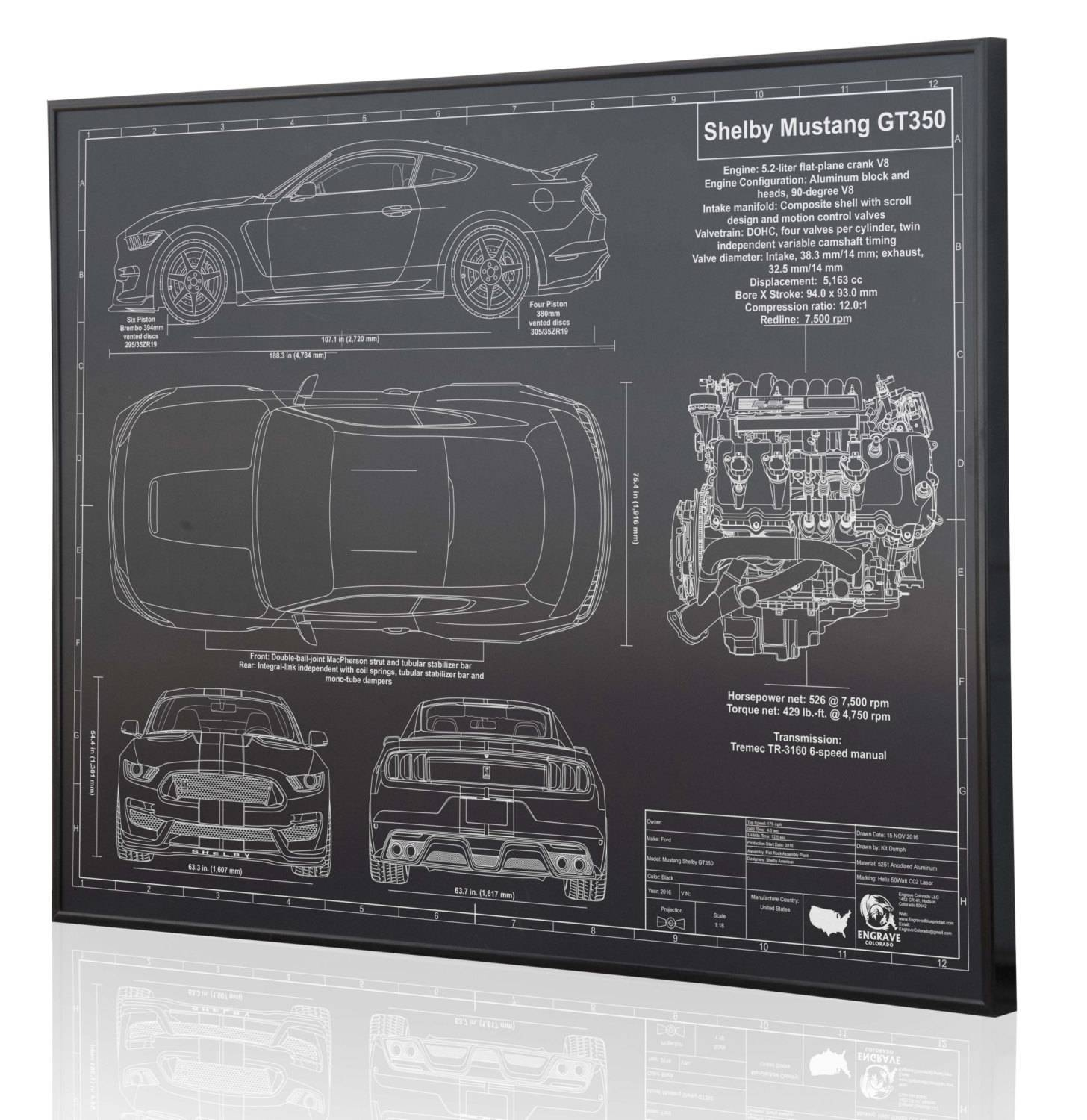 Shelby Mustang Gt350 2016 Laser Engraved Wall Art Poster (View 20 of 20)