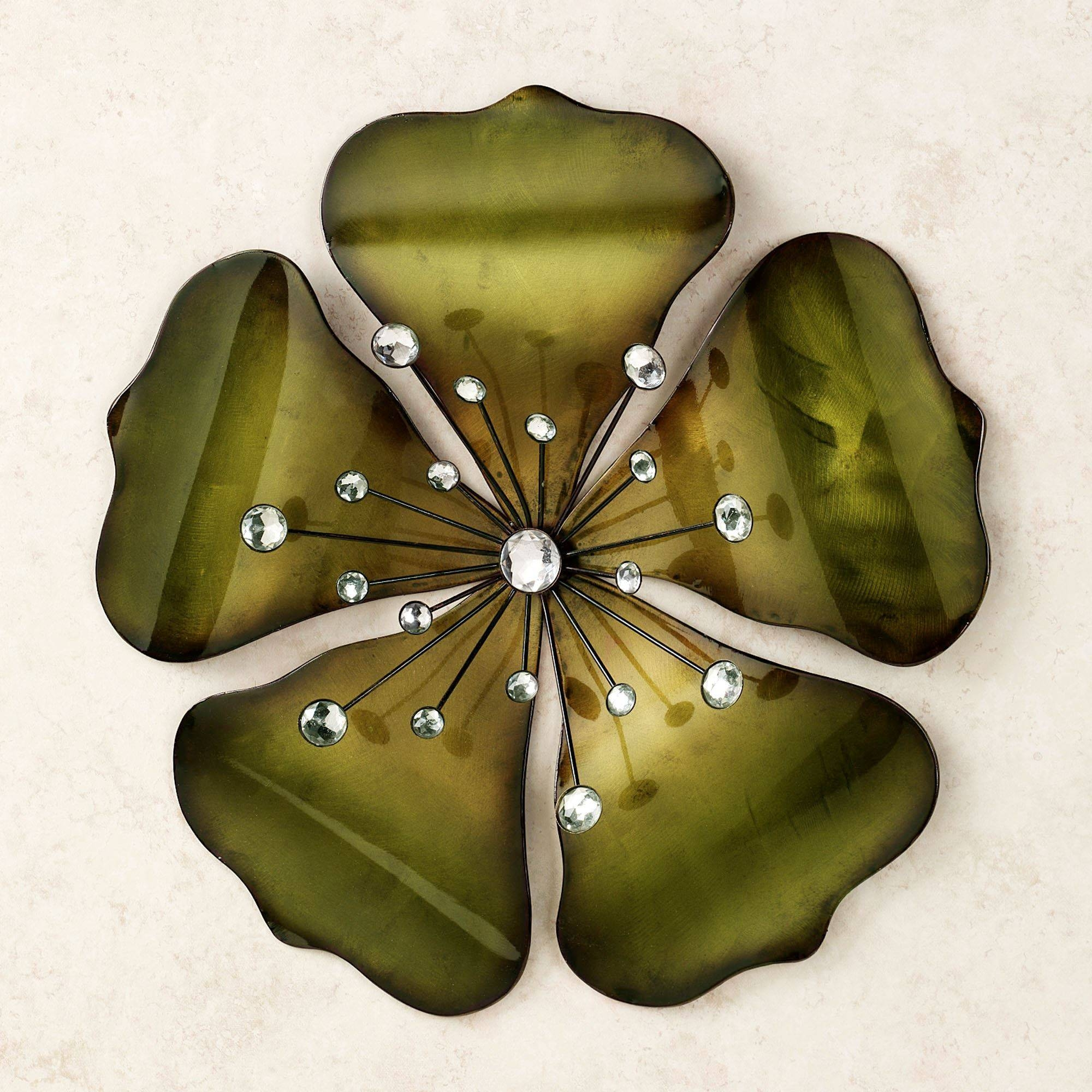 Shimmering Gem Green Flower Metal Wall Art Intended For Recent Flower Metal Wall Art Decor (View 9 of 20)