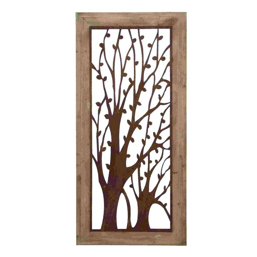 Shop Woodland Imports 26 In W X 56 In H Framed Metal Garden Trees Within 2017 Wood Framed Metal Wall Art (View 7 of 20)