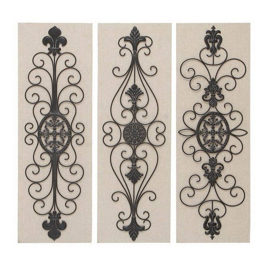 Shop Woodland Imports 3 Piece 12 In W X 36 In H Frameless Metal Pertaining To 2017 3 Piece Metal Wall Art (View 9 of 20)