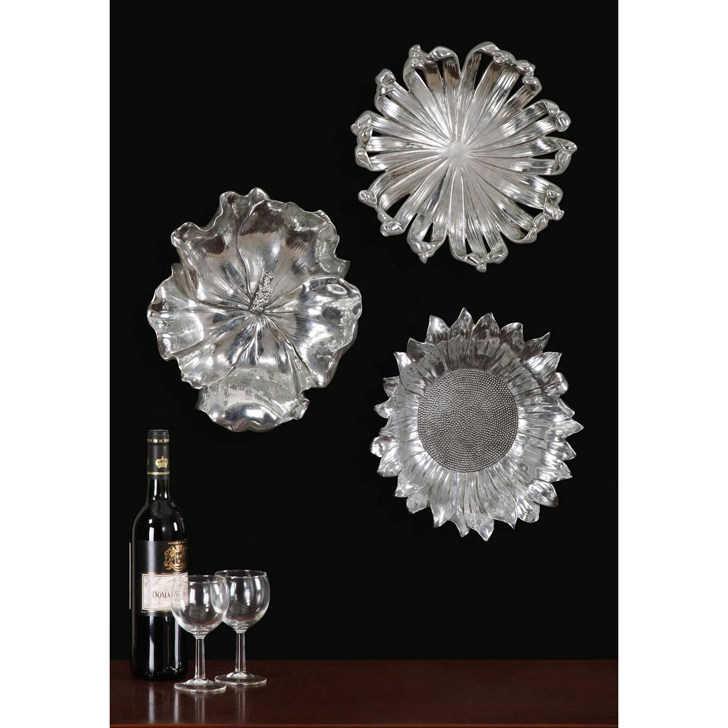 Silver Flowers Metal Wall Art, Set Of Three Uttermost Wall Pertaining To Most Popular Metal Wall Art Sets (View 20 of 20)