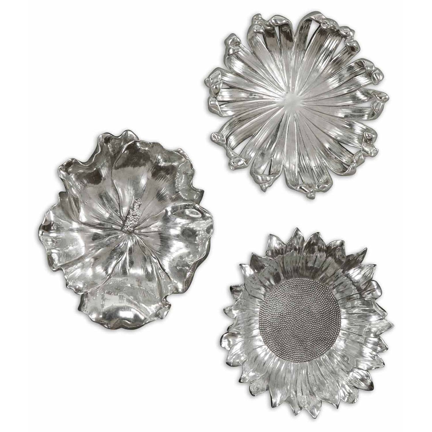 Silver Flowers Metal Wall Art, Set Of Three Uttermost Wall With Regard To Most Recently Released Metal Wall Art Flowers (View 13 of 20)