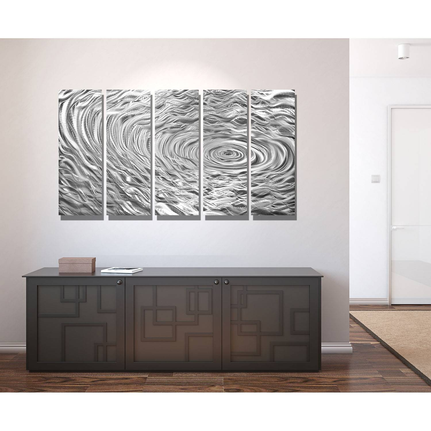 Silver Swell – Silver Metal Wall Art – 5 Panel Wall Décorjon For Latest Silver Metal Wall Art (View 5 of 20)