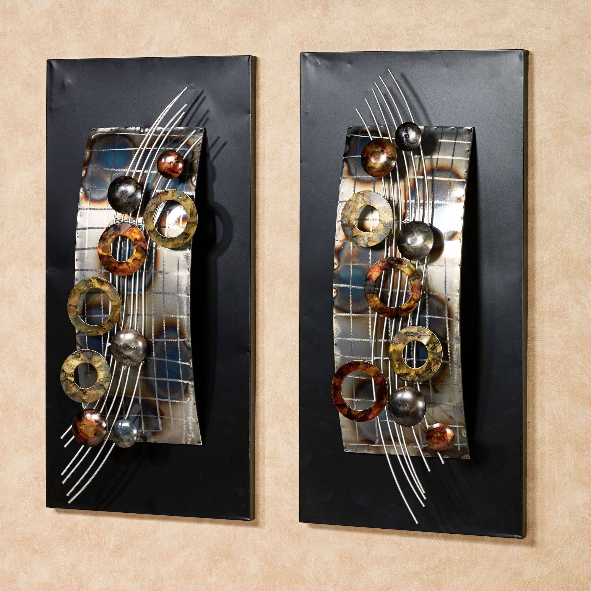 Silver Wave Metal Wall Art Panel Set For Most Recently Released Metal Wall Art Panels (View 9 of 20)