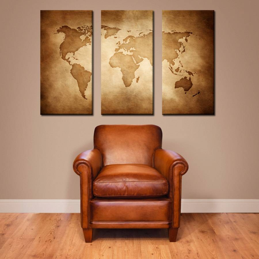 Single Panel Split Vintage World Map Canvas Print.  (View 13 of 20)