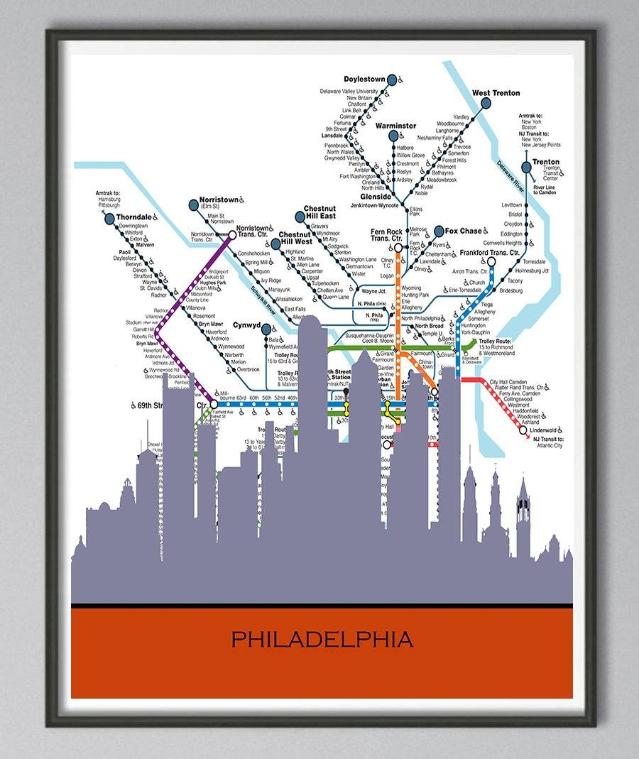Skyline Philadelphia Skyline Philadelphia Map Skyline Map Inside 2017 Philadelphia Map Wall Art (View 20 of 20)