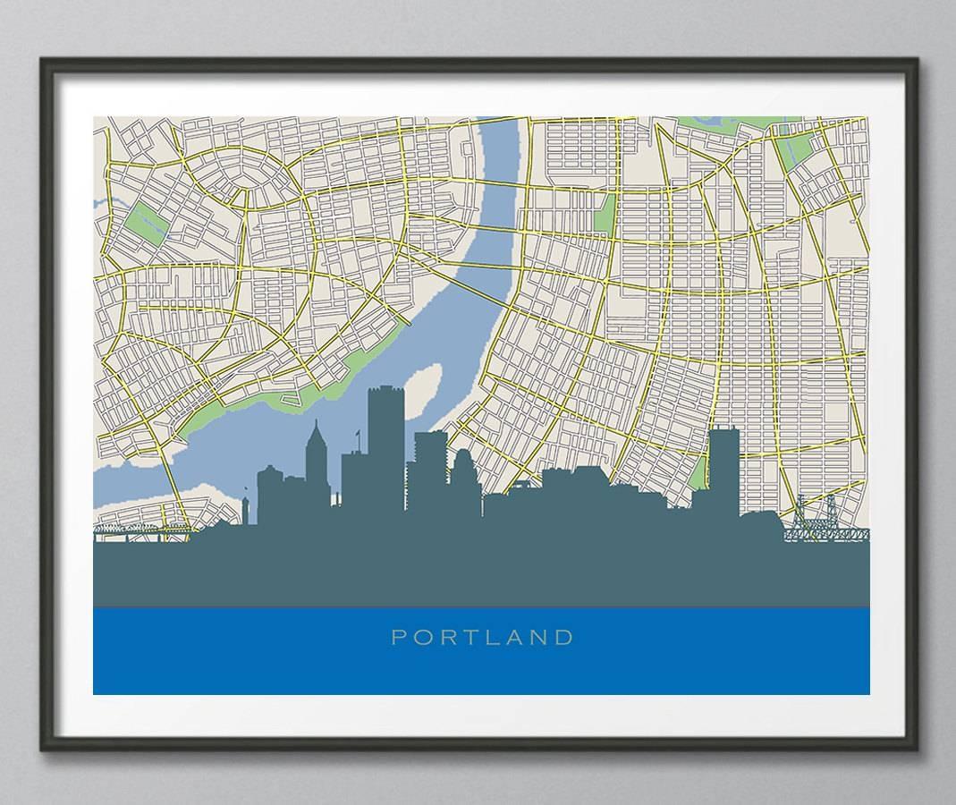 Skyline Print Portland Skyline Portland Map Art Portland In 2017 Portland Map Wall Art (View 11 of 20)