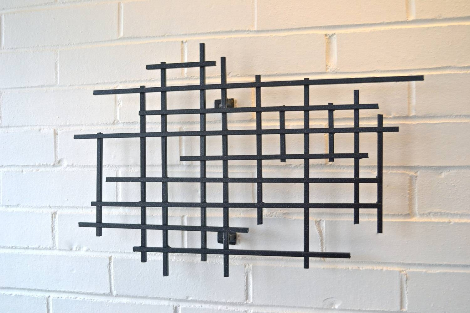 Small Square Metal Art Sculpture Modern Steel Decor Decoration Intended For 2018 Wall
