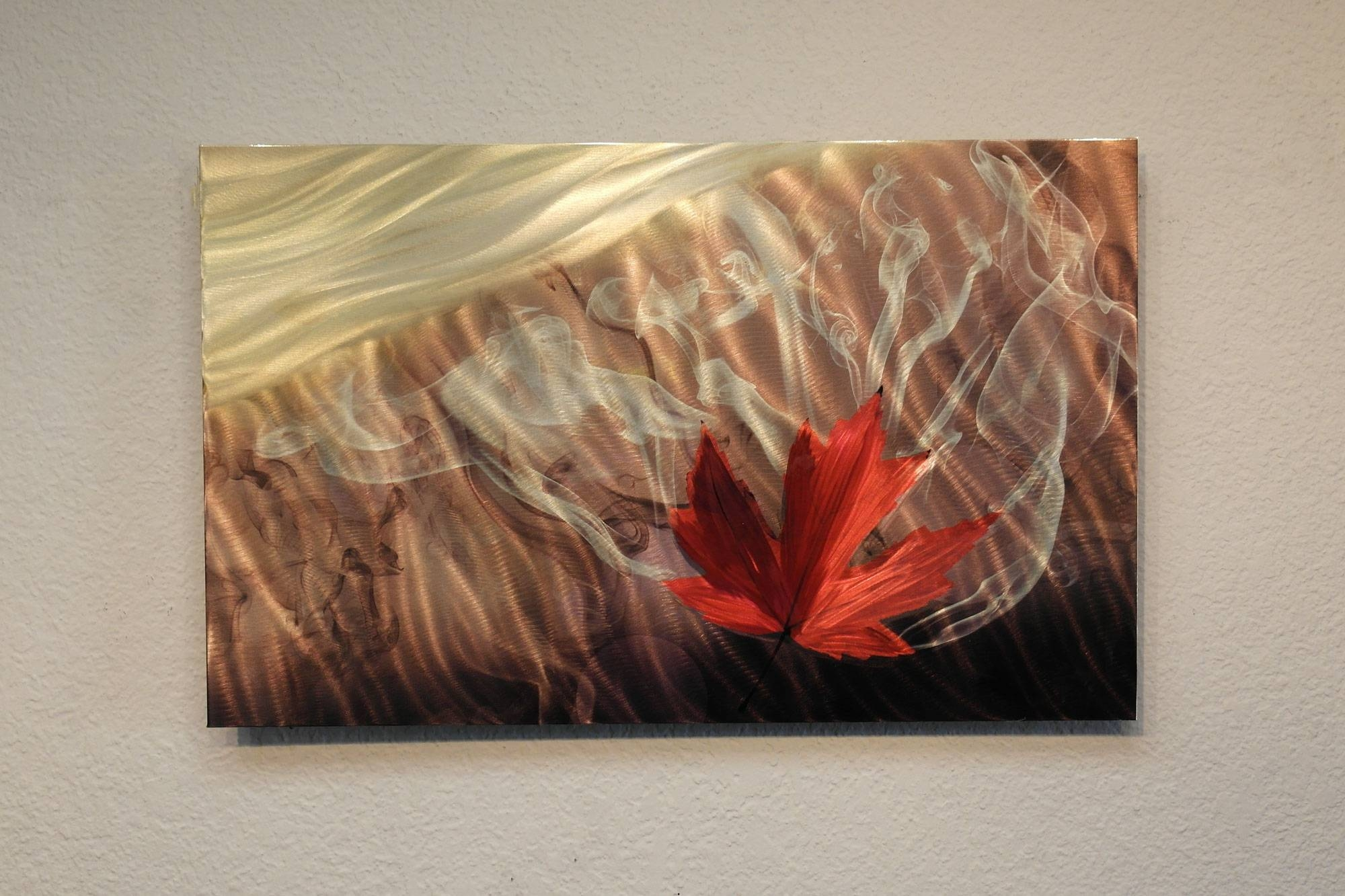 Smokey Leaf – Metal Wall Art Abstract Sculpture Modern Decor For Most Current Leaf Metal Wall Art (View 16 of 20)