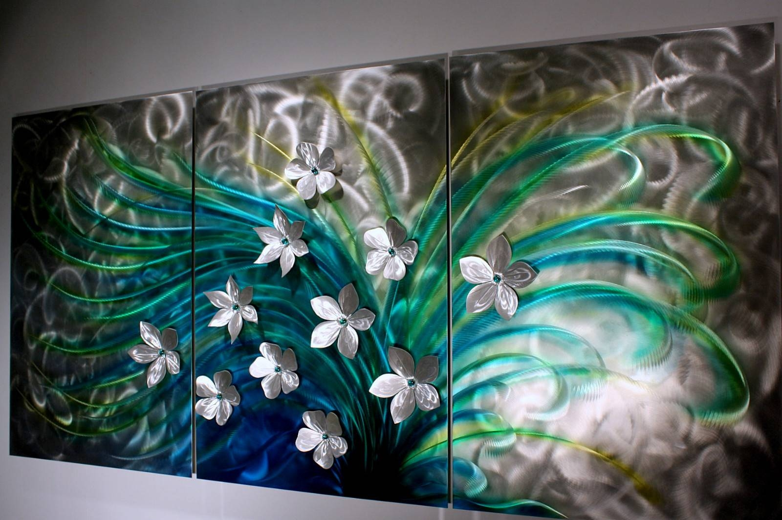 Smothery Wilmos Kovacs Metal Wall Sculpture Abstract Rainbow Paint Throughout 2018 Teal Metal Wall Art (View 14 of 20)