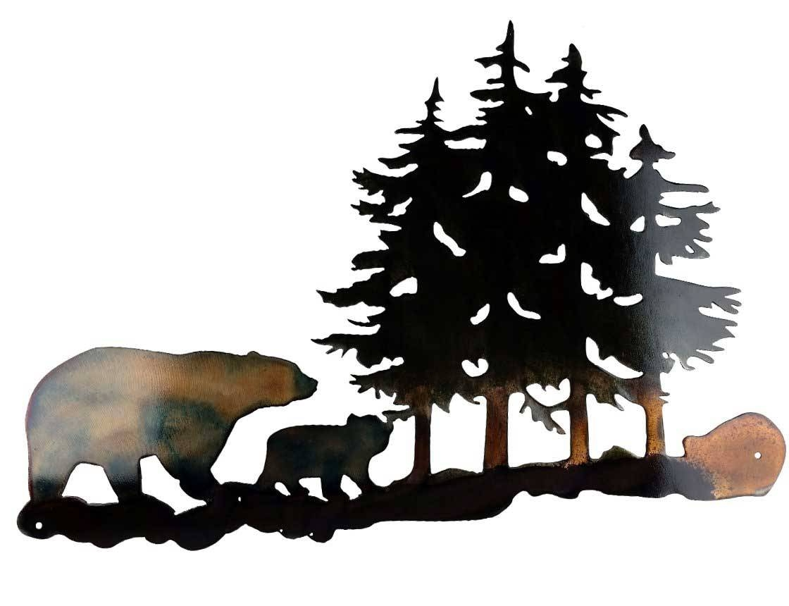 Smw301 Custom Metal Rustic Decor Wall Art Forest Bears – Sunriver In Most Recent Bear Metal Wall Art (View 16 of 20)