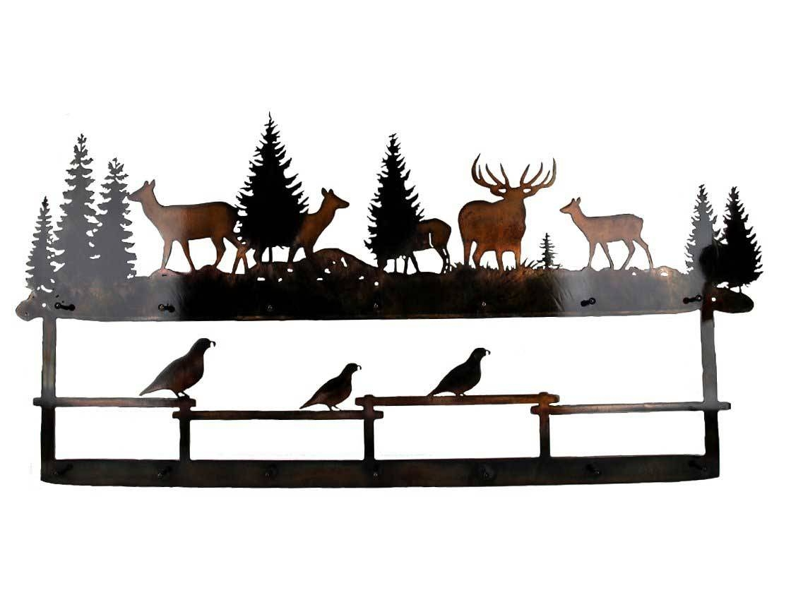 Smw332 Custom Metal Decor Rustic Hat Rack Elk Quail – Sunriver Within 2017 Elk Metal Wall Art (View 12 of 20)