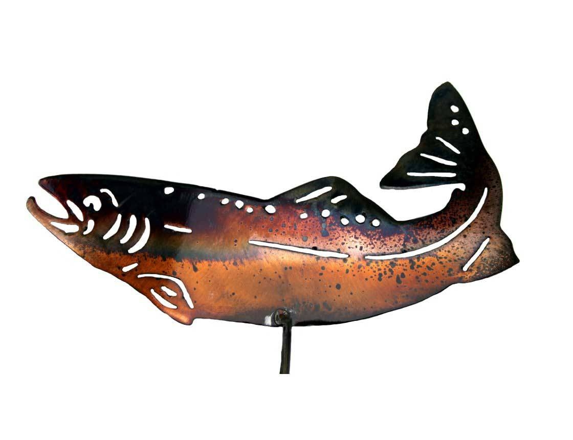 Smw343 Metal Garden Yard Wall Art Trout Fish – Sunriver Metal Works Pertaining To 2017 Fish Metal Wall Art (View 15 of 20)