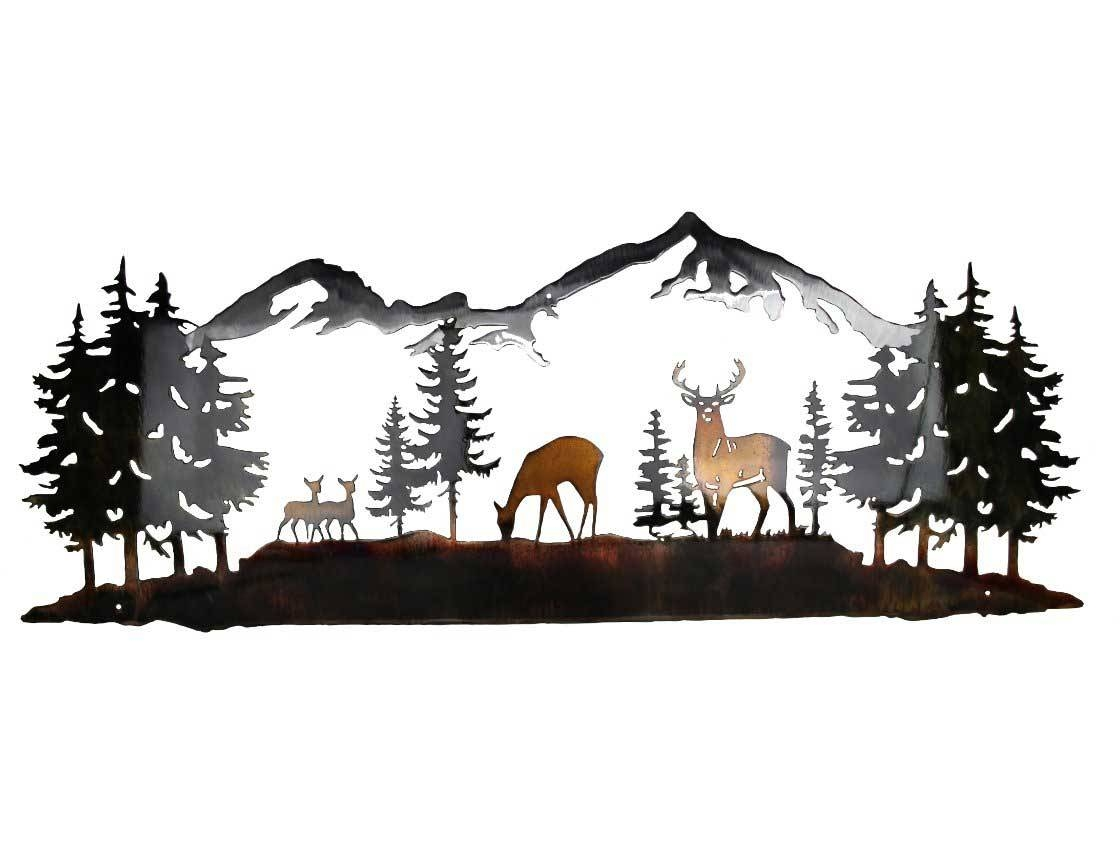 Smw419 Metal Decor Wall Art Nature With Mountains – Sunriver Metal Inside Most Recently Released Deer Metal Wall Art (View 15 of 20)