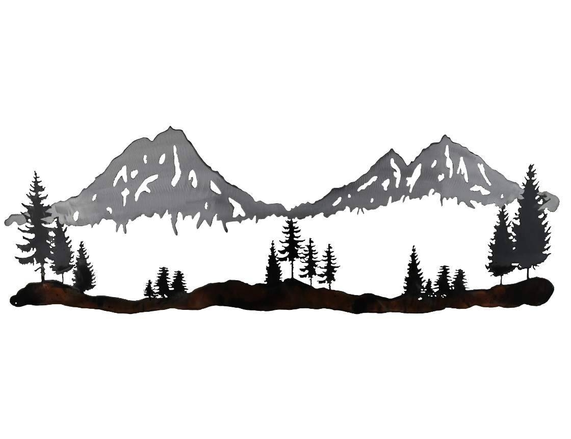 Smw689 Metal Three Sisters Mountains Wall Art – Sunriver Metal Works Regarding Most Current Mountains Metal Wall Art (View 17 of 20)