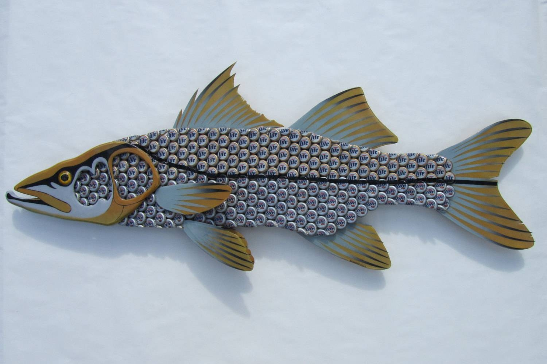 Snook Fish Metal Wall Art Miller Light Bottle Cap Art Intended For Current Fish Metal Wall Art (View 16 of 20)