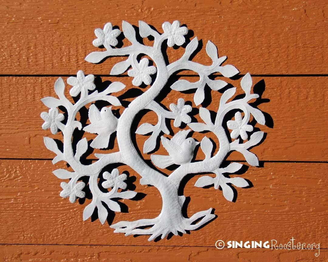 Snowy Tree Of Life, Fair Trade Metal Wall Art, Haiti Pertaining To Best And Newest Tree Of Life Metal Wall Art (View 11 of 20)