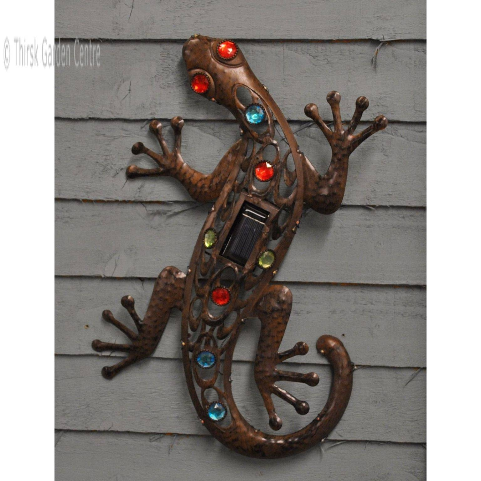 Solar Led Gecko Metal Wall Art – Solar Lights – Thirsk Garden Centre With Regard To Most Recently Released Gecko Metal Wall Art (View 14 of 20)