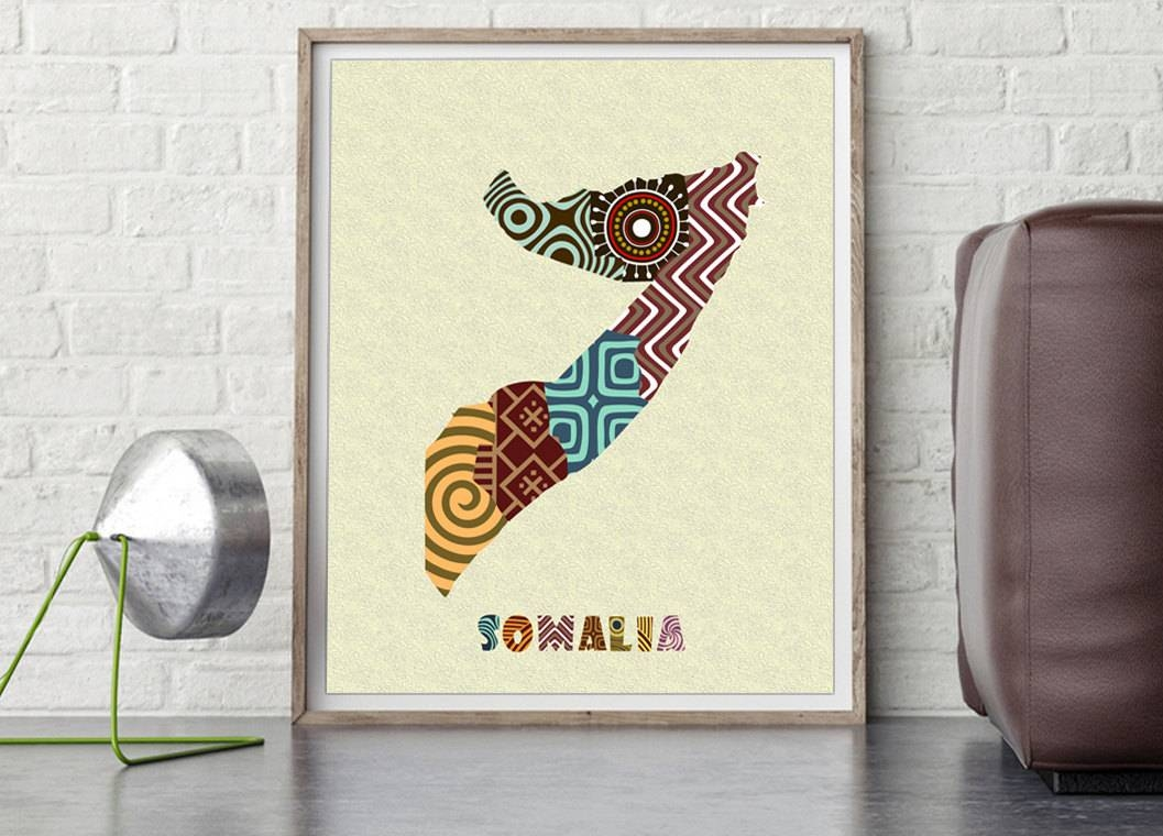 Somalia Map Art Print Wall Decor, Somalia Poster, Mogadishu In Most Popular Africa Map Wall Art (View 4 of 20)