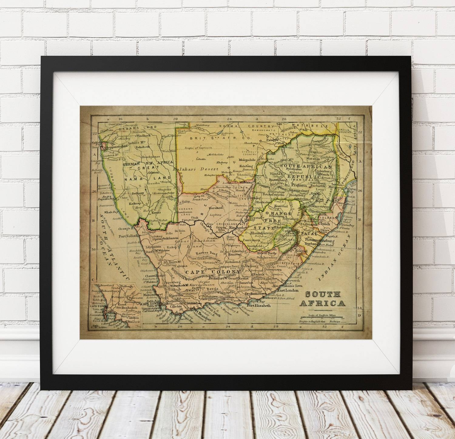 South Africa Map Print, Vintage Map Art, Antique Map, Wall Decor Pertaining To 2017 Africa Map Wall Art (View 5 of 20)