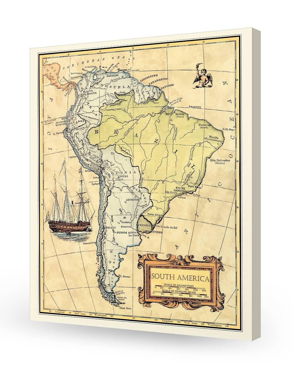 South America Old Map Wall Art. Giclee Print Decoration (View 19 of 20)