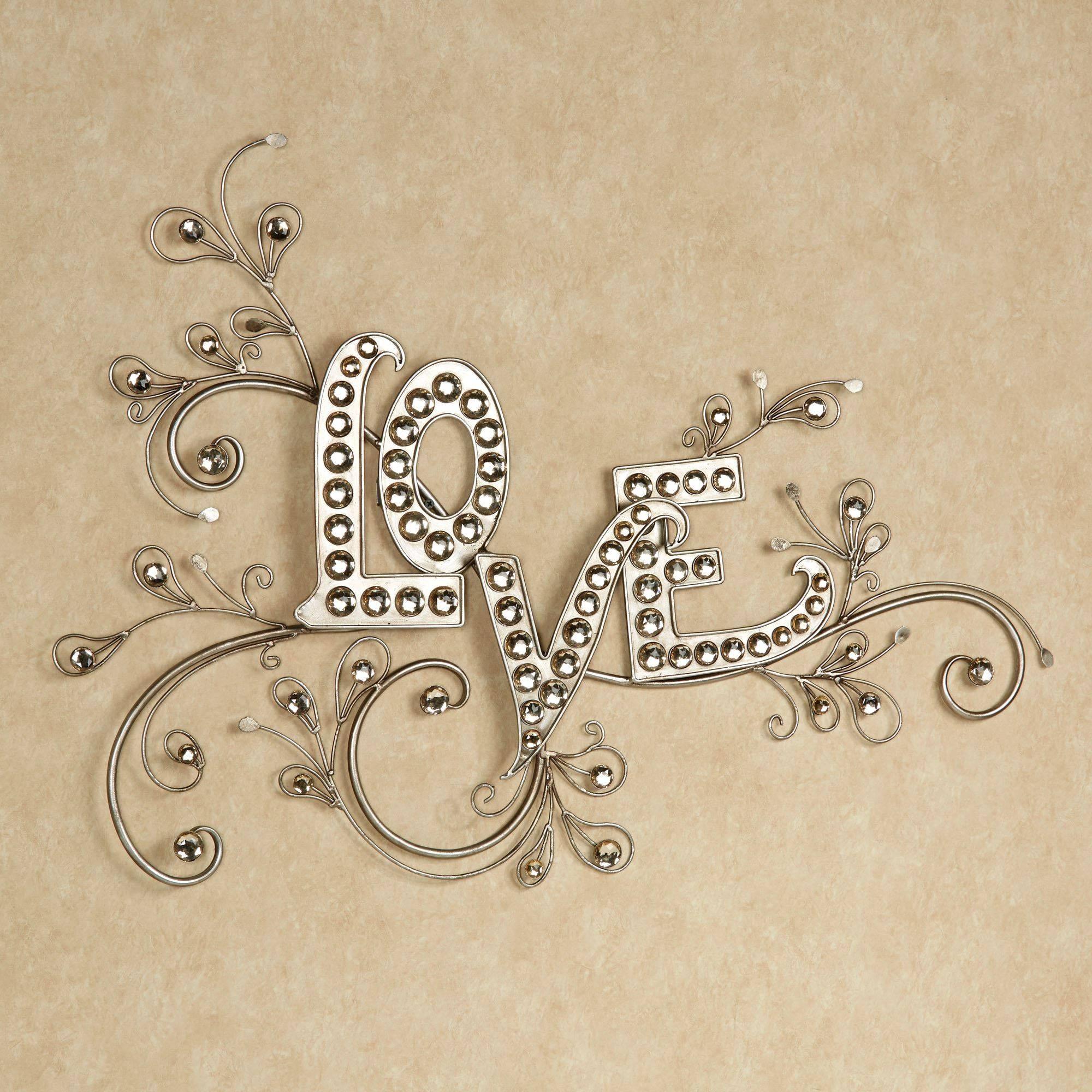 Sparkling Love Gem Word Wall Art Regarding Most Current Metal Wall Art Words (View 12 of 20)