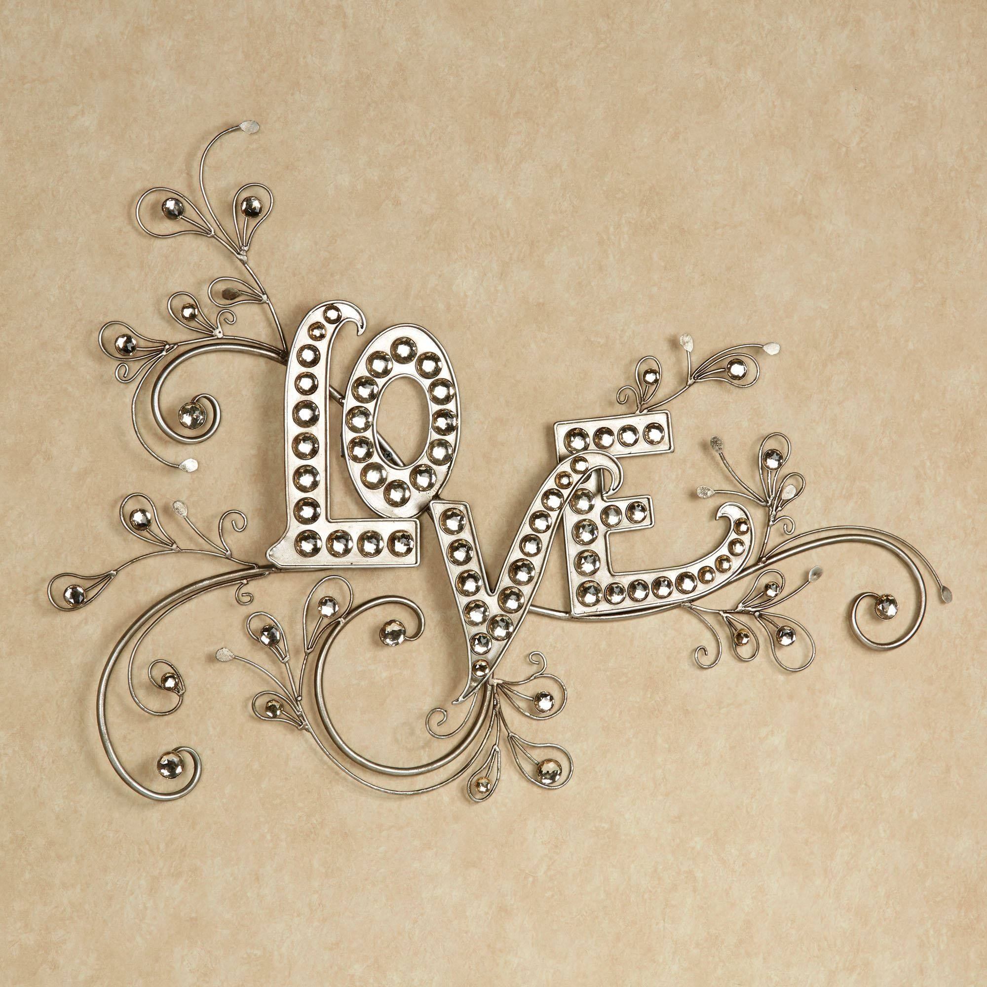 Sparkling Love Gem Word Wall Art Within Latest Embossed Metal Wall Art (View 8 of 20)
