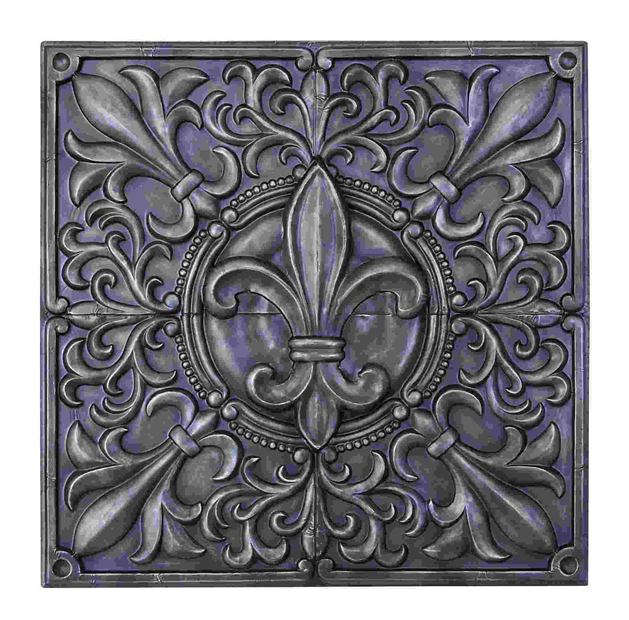 Square Metal Wall Art Pewter Fleur De Lis Square Metal Wall Intended For Best And Newest Square Metal Wall Art (View 7 of 20)
