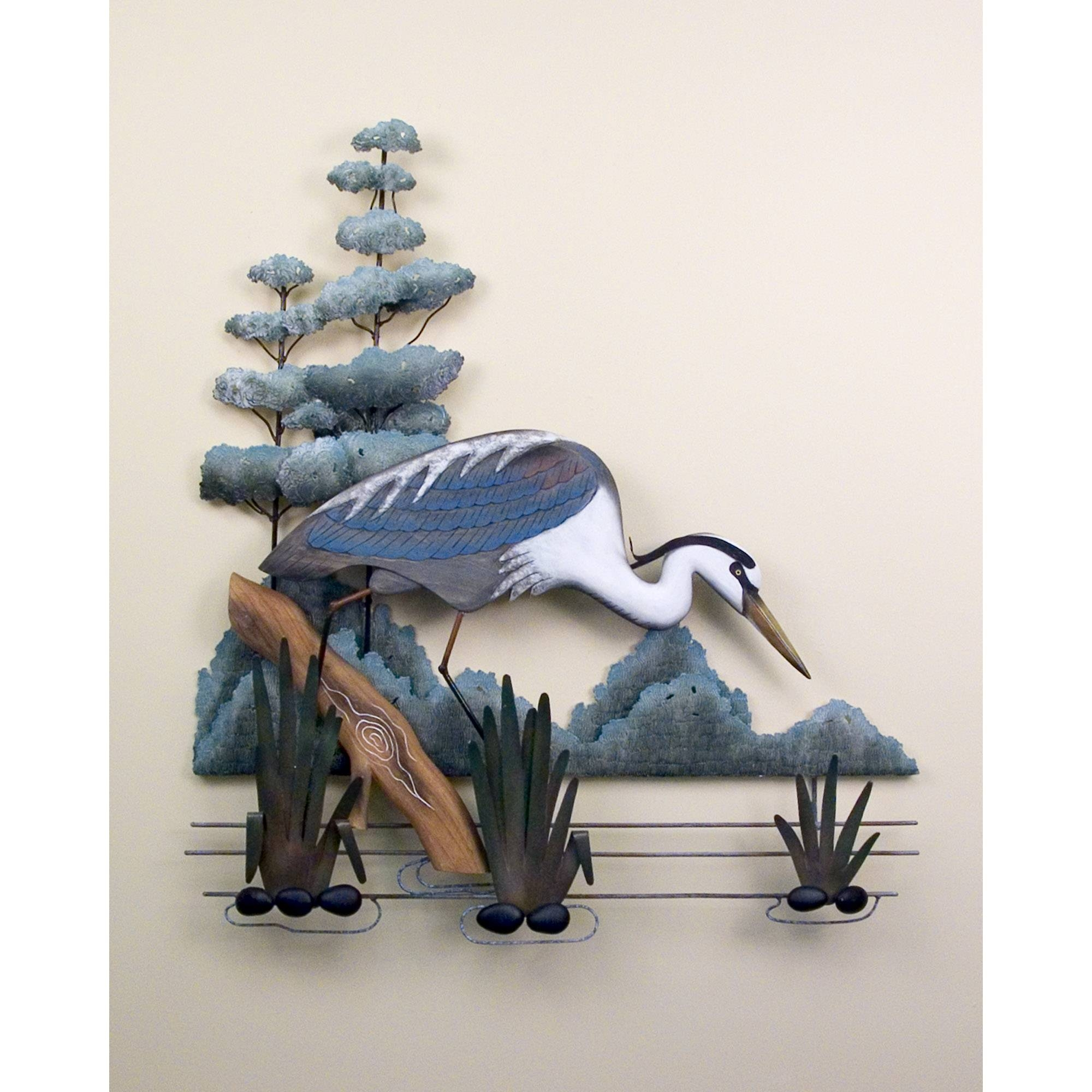 Stalking, Great Blue Heron, Wall Art, Birds, Shore, Tropical Regarding Current Heron Metal Wall Art (View 4 of 20)
