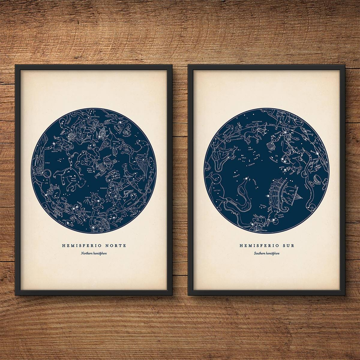 Star Map Print Set Of 2 Astronomy Print Star Chart Print Intended For Most Current Nautical Map Wall Art (View 14 of 20)