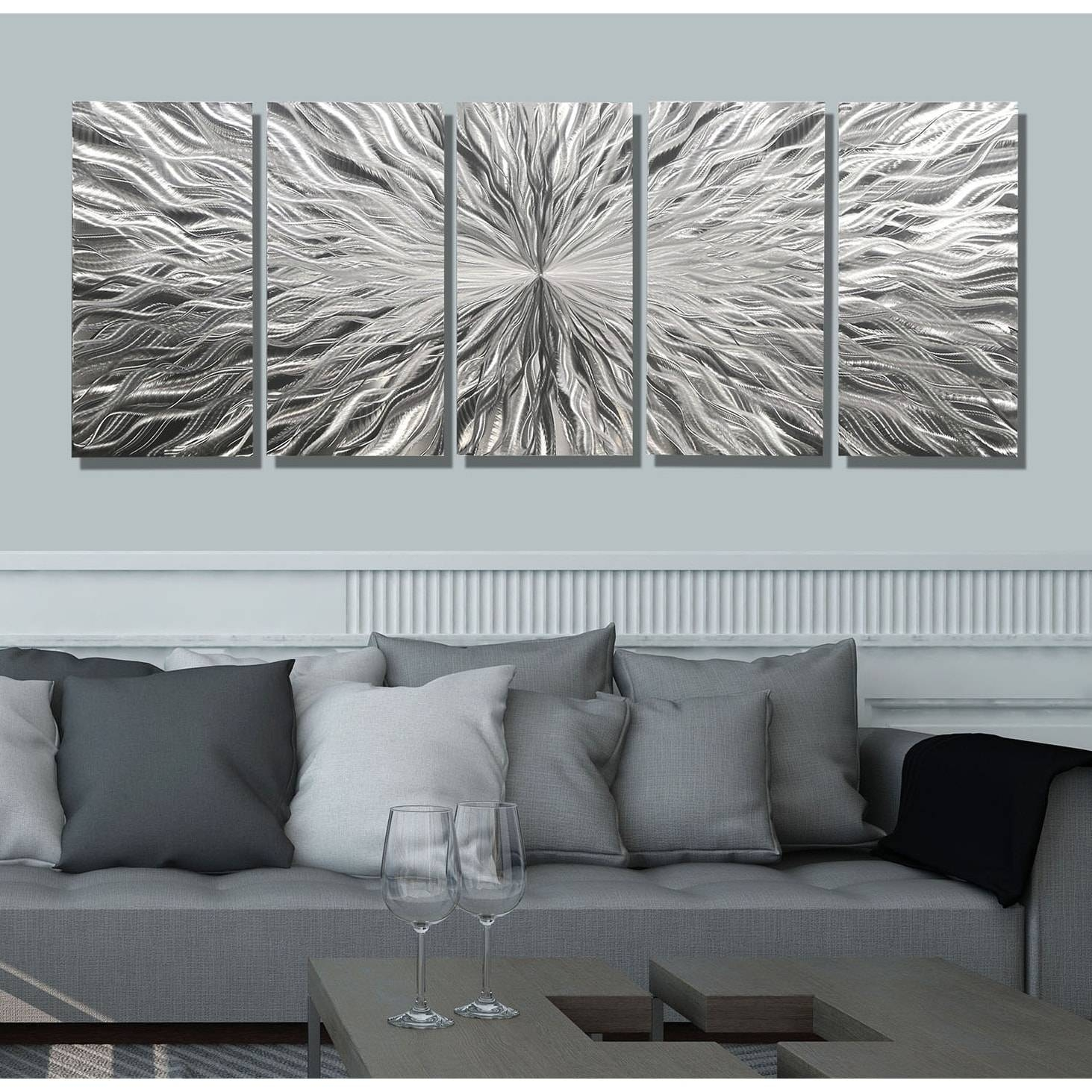 Statements2000 Silver 5 Panel Modern Metal Wall Art Sculpture With Regard To Latest Modern Metal Wall Art (View 3 of 20)