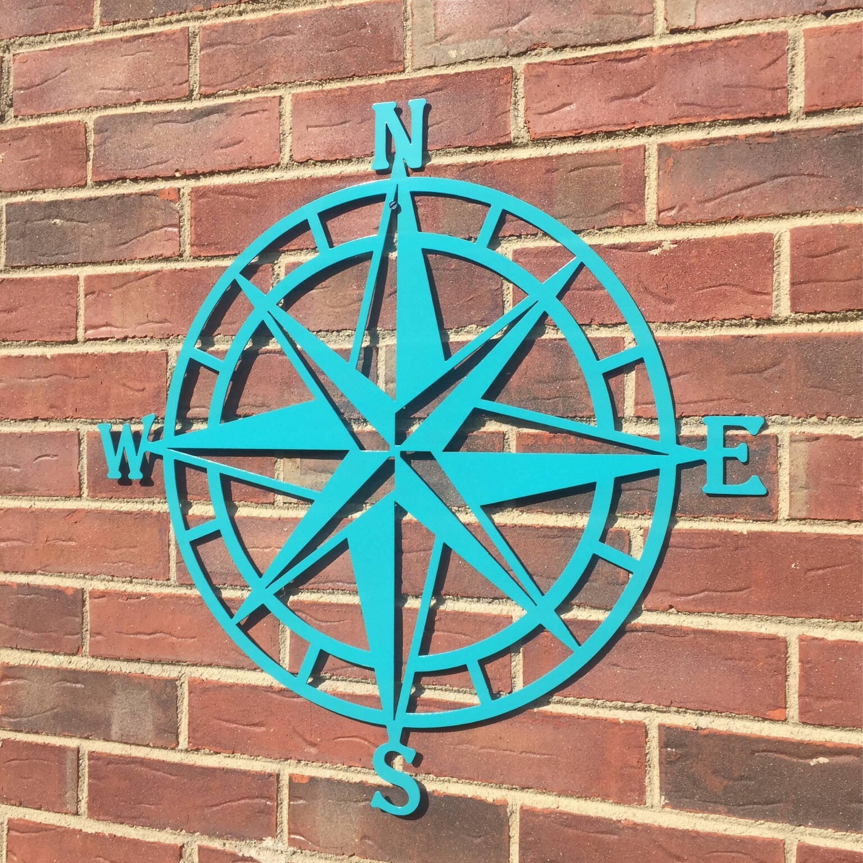 Steel Nautical Star Compass Wall Art Nautical Decor Metal Inside 2017 Beach Metal Wall Art (View 12 of 20)