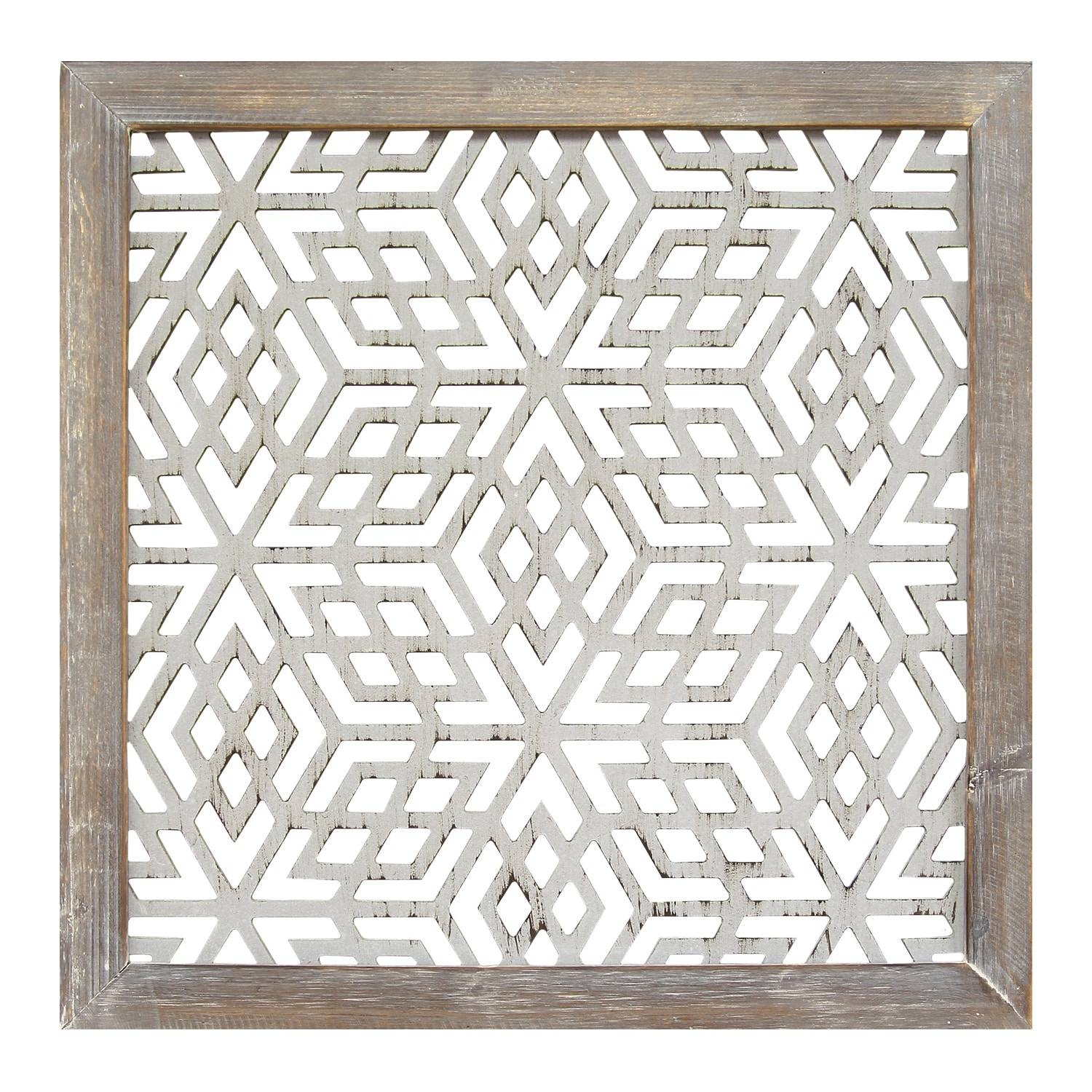 Stratton Home Decor Distressed Grey Wood Framed Laser Cut Metal Intended For Newest Laser Cut Metal Wall Art (View 12 of 20)