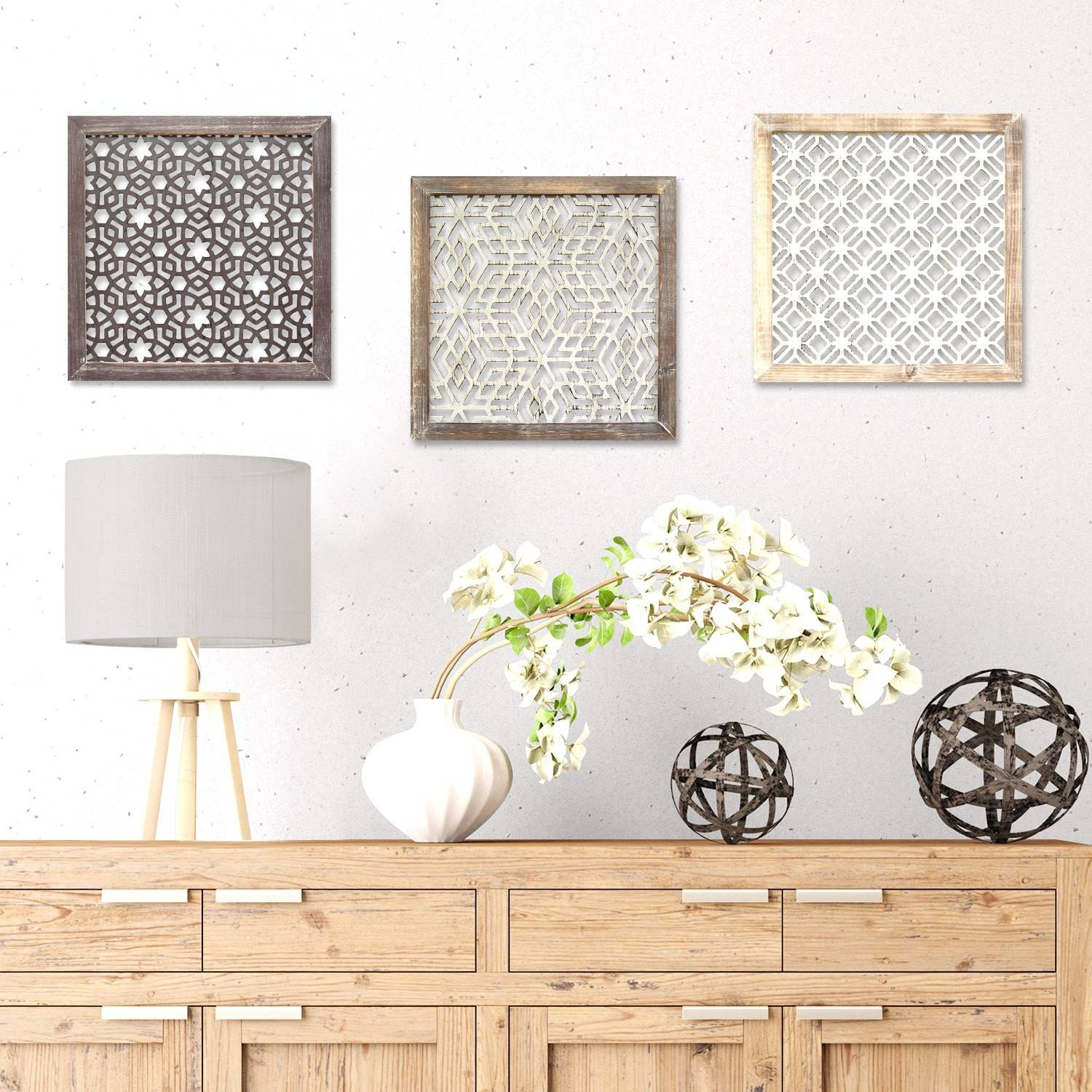 Stratton Home Decor Distressed Grey Wood Framed Laser Cut Metal Intended For Recent Distressed Metal Wall Art (View 5 of 20)