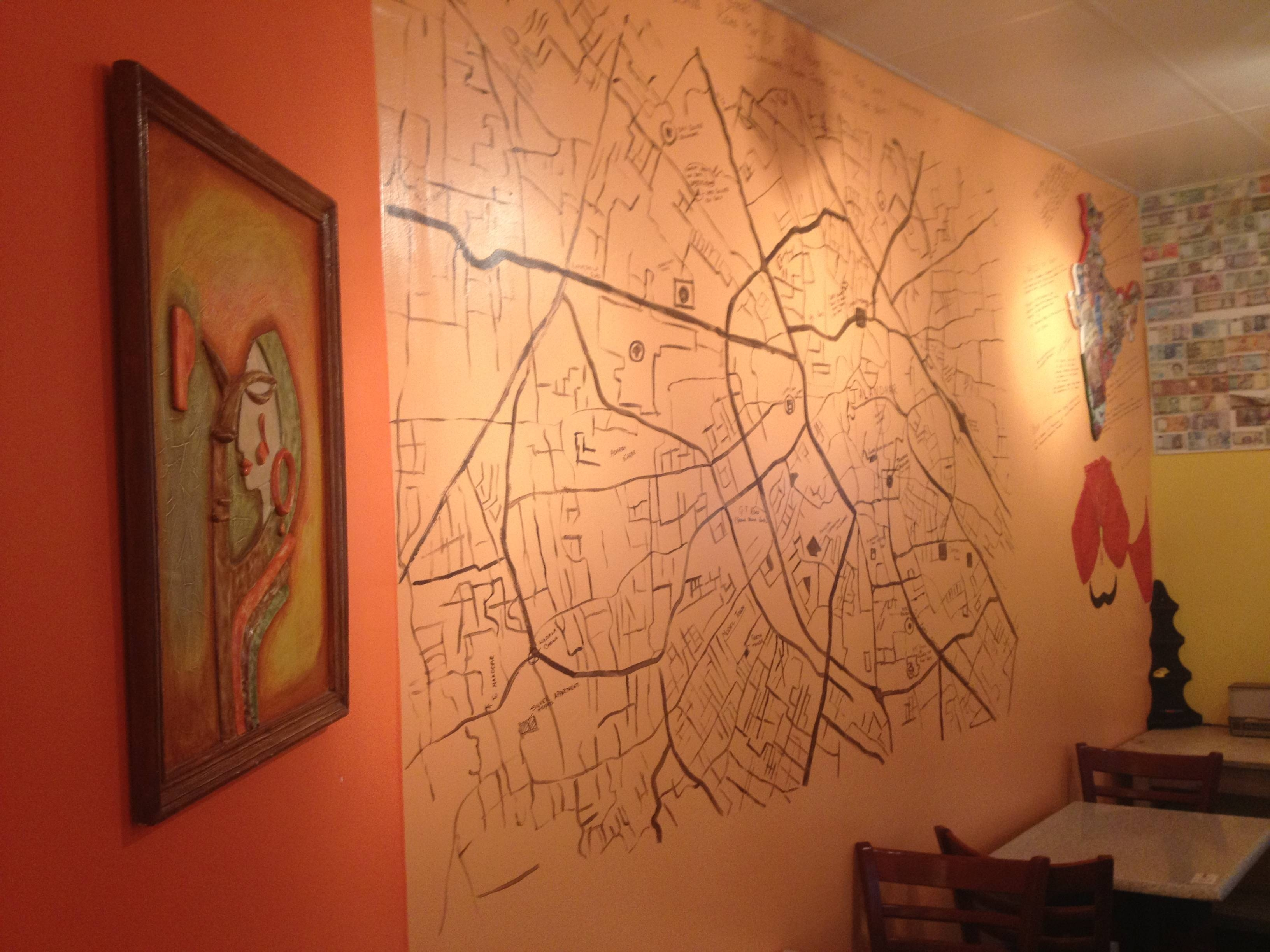 Street Map Painted On The Wall At Indigo | District Cuisine Regarding Best And Newest Street Map Wall Art (View 4 of 20)