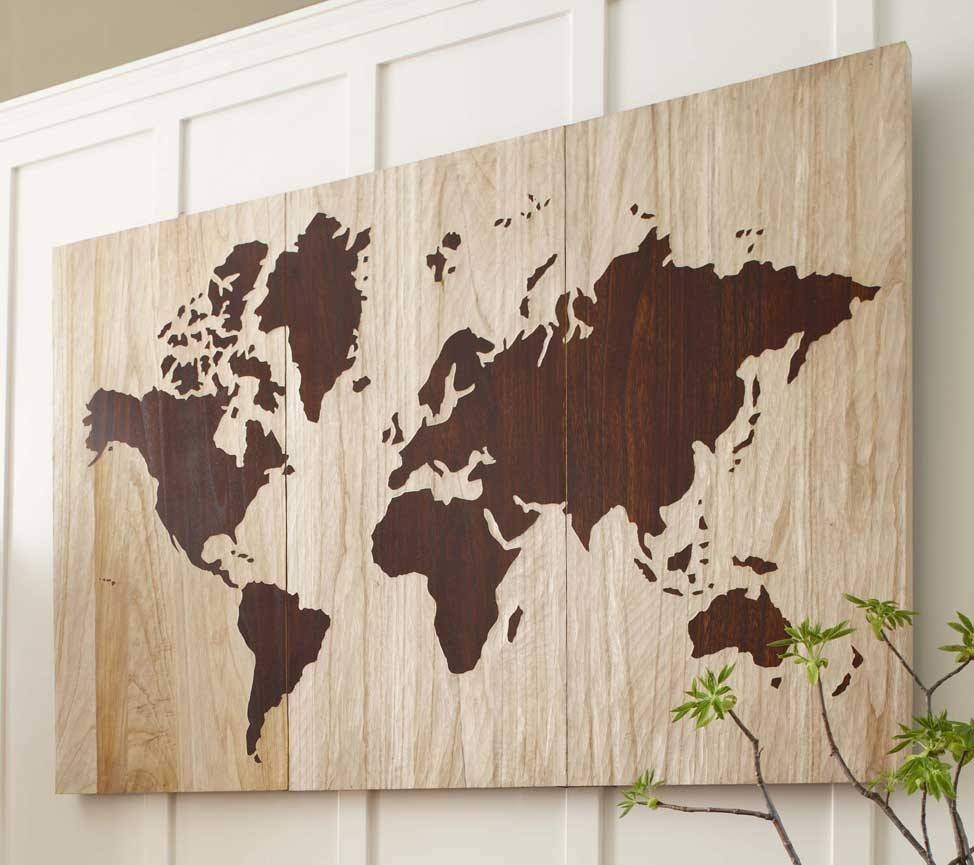 String Art World Map Barn Door Wood Wall Decorrambleandroost In Most Up To Date String Map Wall Art (View 12 of 20)