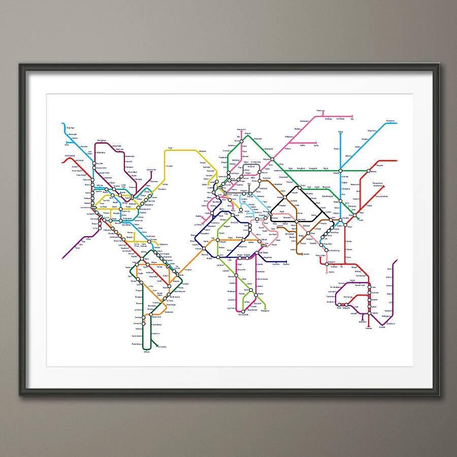Subway Tube Metro World Map Art Printartpause With Regard To 2017 Metro Map Wall Art (View 11 of 20)