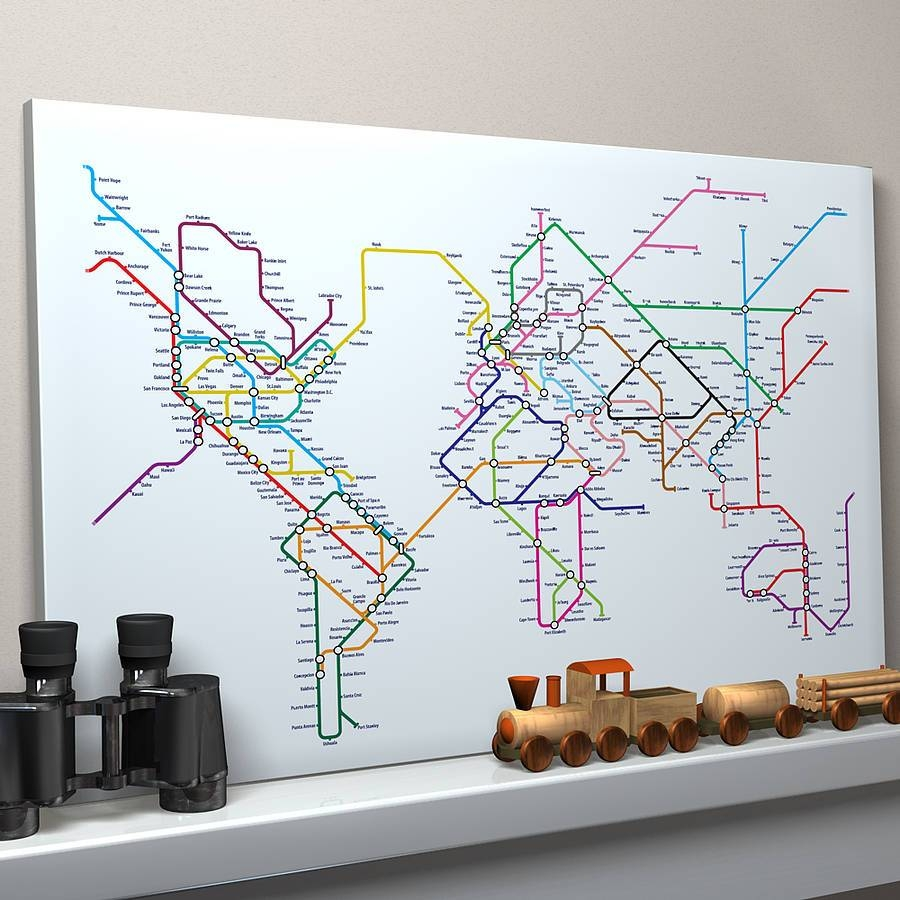 Subway Tube Metro World Map Art Printartpause With Regard To Most Recently Released World Map Wall Art Print (View 13 of 20)