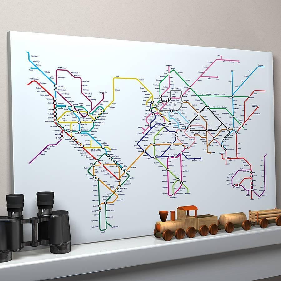 Subway Tube Metro World Map Art Printartpause Within Recent Tube Map Wall Art (View 3 of 20)