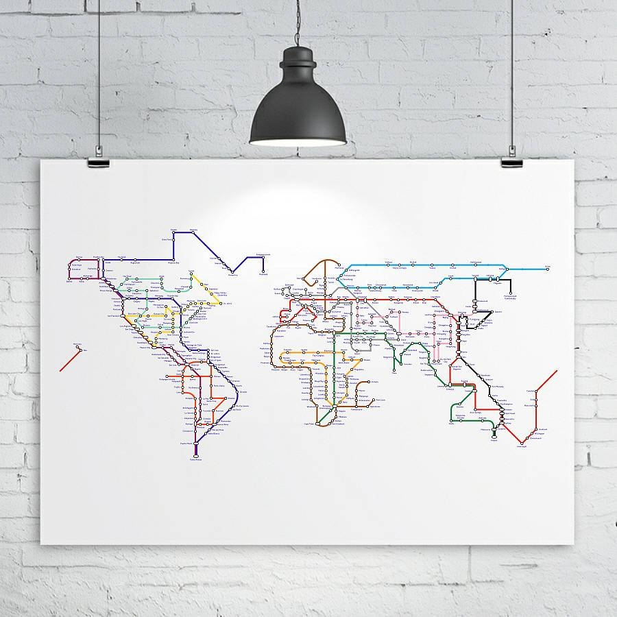 Subway Tube Metro World Map Printkiaco | Notonthehighstreet In Most Current Tube Map Wall Art (View 17 of 20)