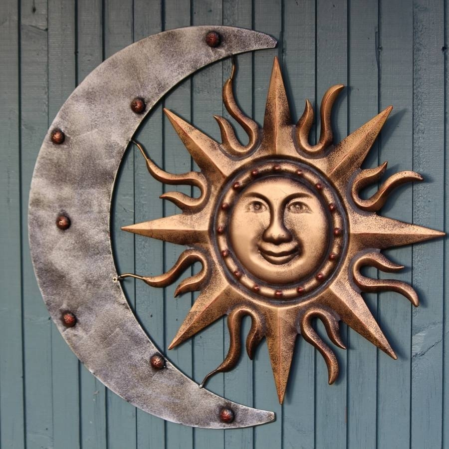 Sun And Moon Metal Garden Wall Sculpturegarden Selections Intended For Most Recent Sun And Moon Metal Wall Art (View 12 of 20)
