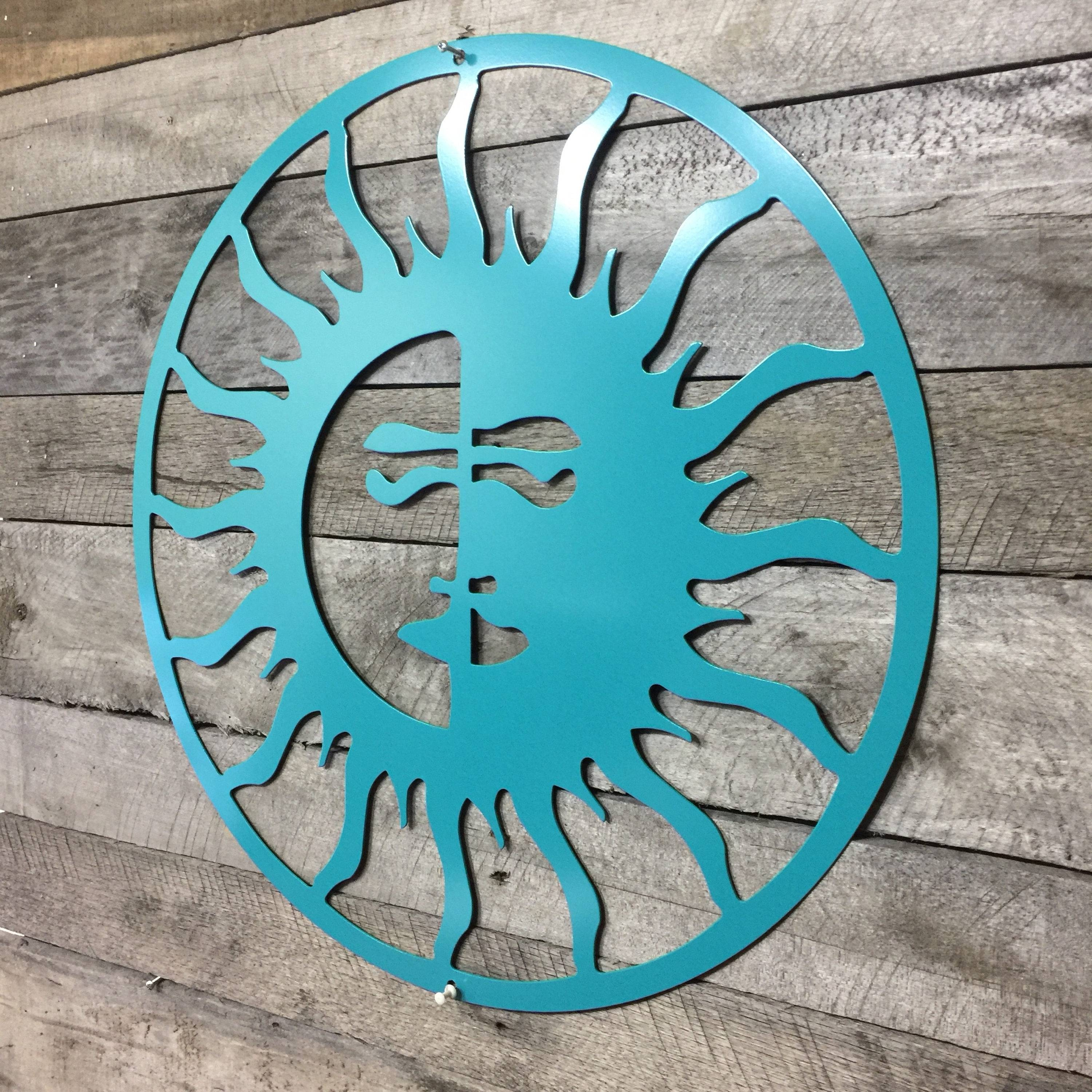 Sun/moon, Outdoor Art, Pool Art, Custom Metal Art, Metal Wall Art Intended For 2017 Sun And Moon Metal Wall Art (View 2 of 20)