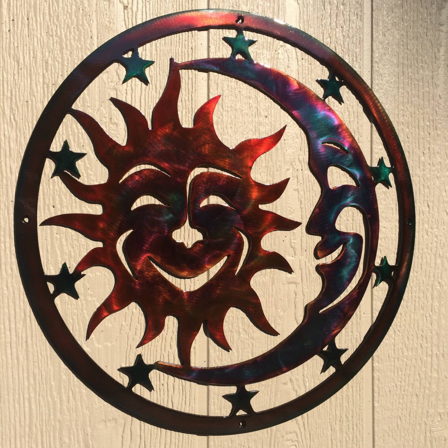 Sun, Moon, & Stars Celestial Indoor Or Outdoor Plasma Cut Metal Throughout 2018 Sun And Moon Metal Wall Art (View 14 of 20)