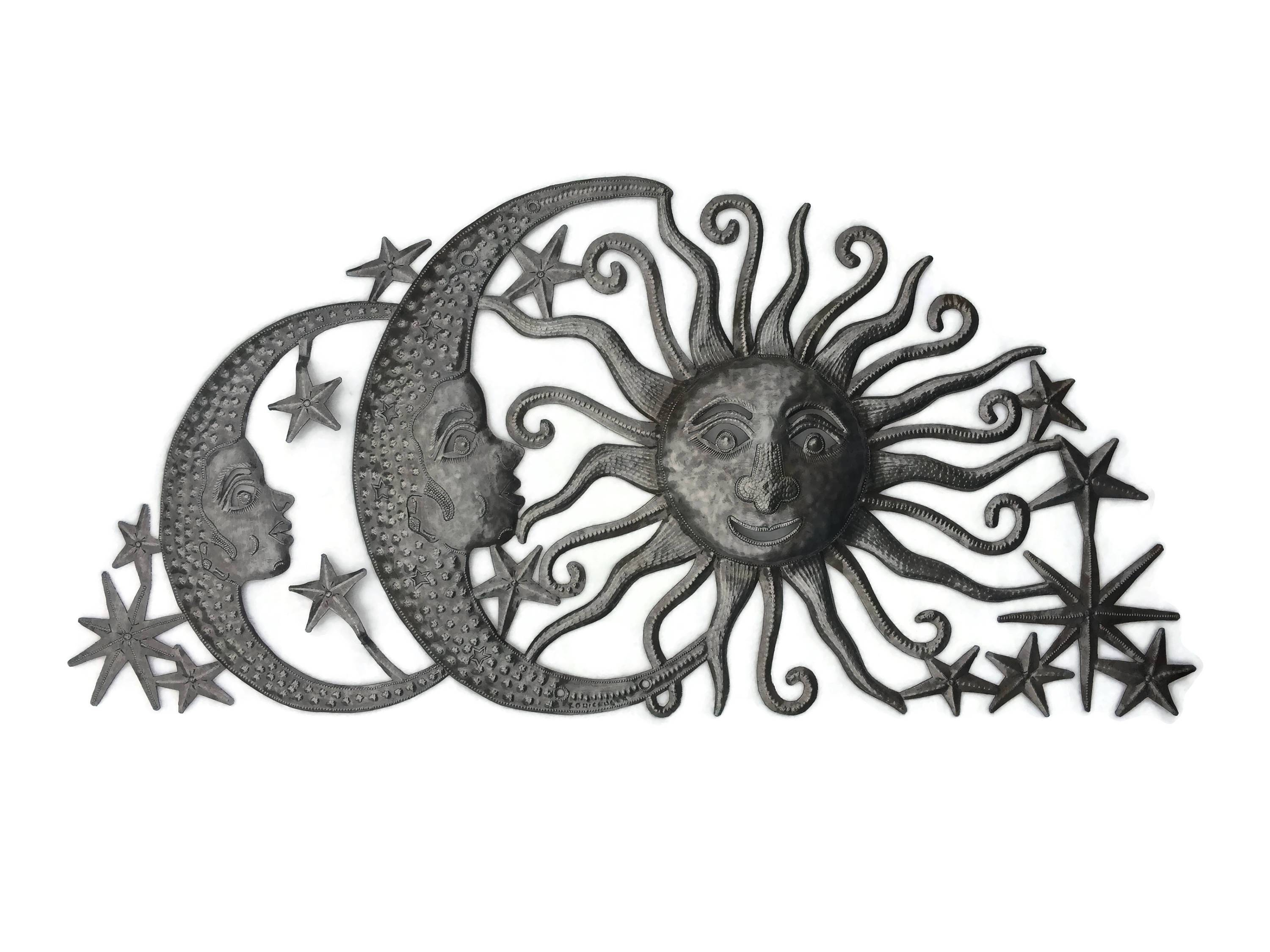 Sun Moons And Stars Celestial Arch, Haiti Metal Art, Fair Trade With Most Recent Haitian Metal Wall Art (View 17 of 20)