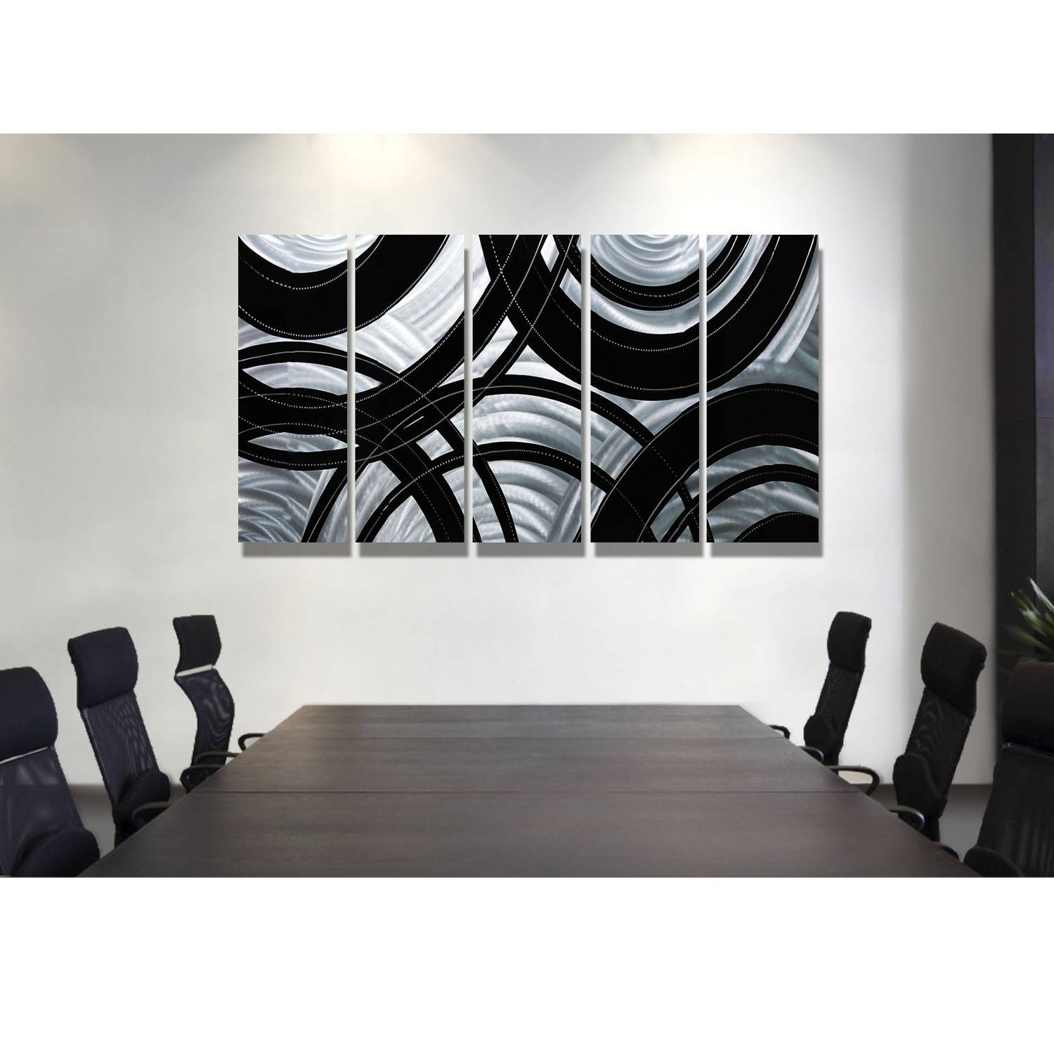 Synergy - Black And Silver Metal Wall Art - 5 Panel Wall Décor inside 2018 Black And Silver Metal Wall Art