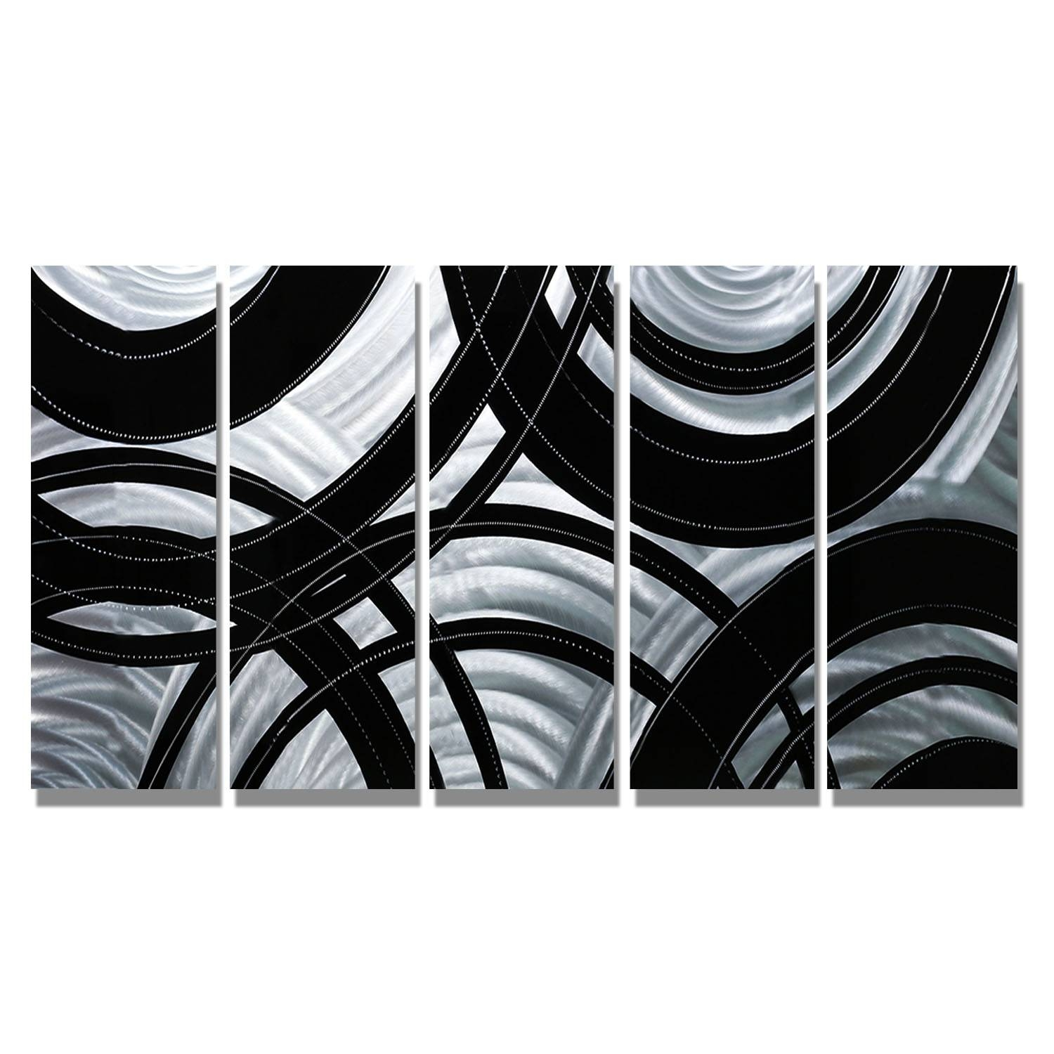 Synergy – Black And Silver Metal Wall Art – 5 Panel Wall Décor With Regard To Latest Black And Silver Metal Wall Art (View 11 of 20)