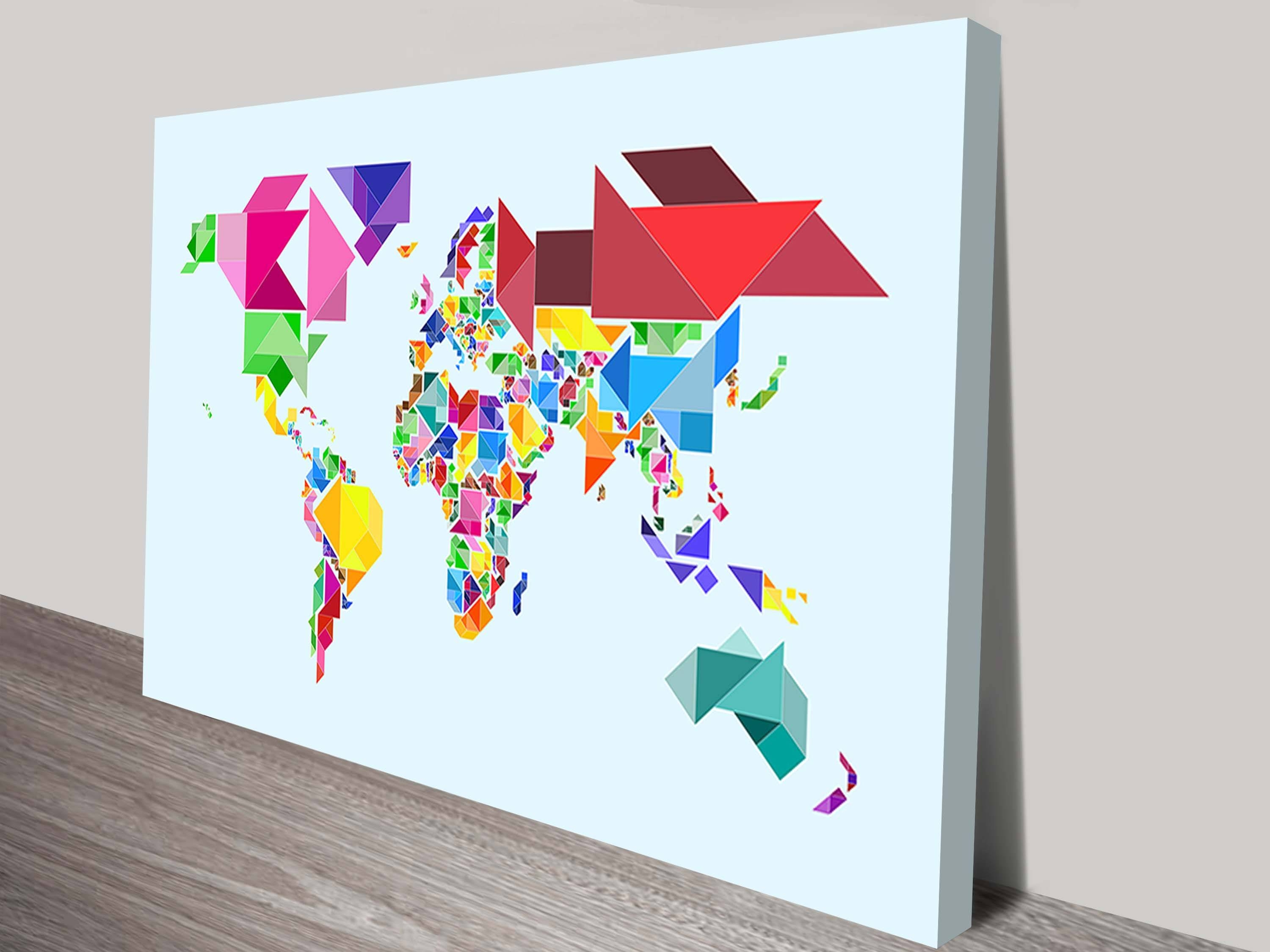 Tangram Abstract World Mapmichael Tompsett With Best And Newest Abstract World Map Wall Art (Gallery 3 of 20)